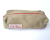 Grande trousse Beige zip rouge
