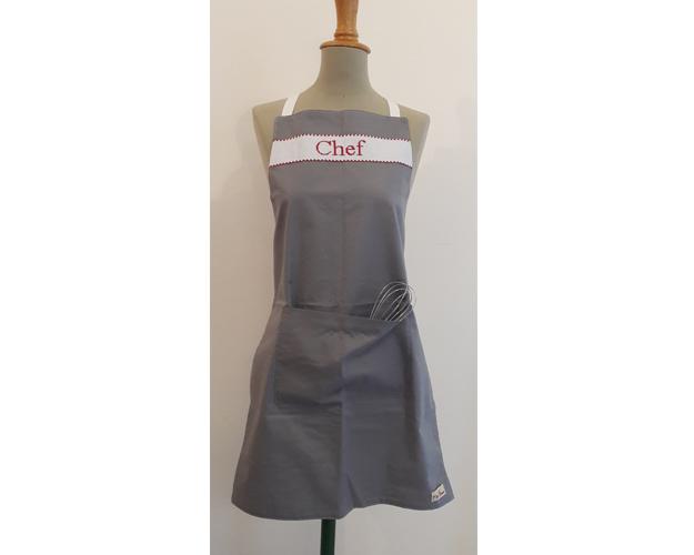 Tablier De Cuisine Adulte Chef Gris Rouge P Tits Barons