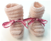 Chaussons tricot rose